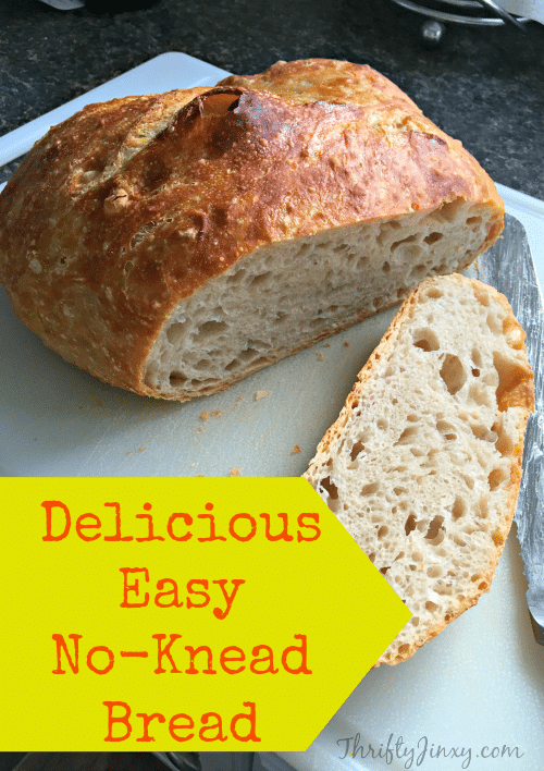 This Delicious Easy No-Knead Bread Recipe is seriously crazy easy to make and makes the most delicious crunchy on the outside, soft and moist on the inside bread you'll ever eat!