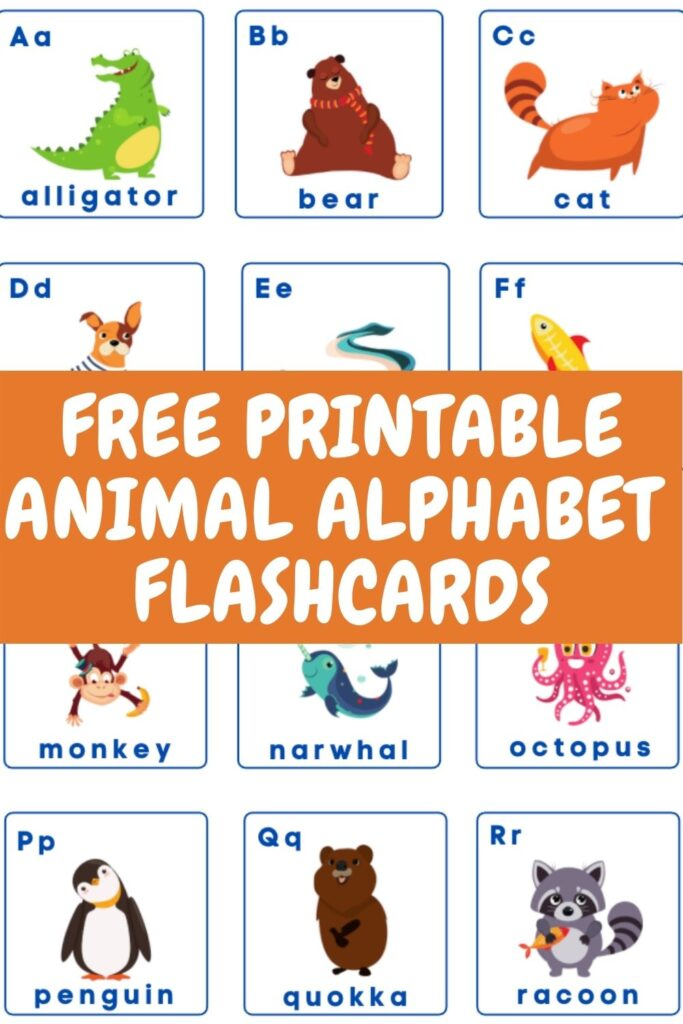 FREE PRINTABLE ANIMAL ALPHABET FLASHCARDS