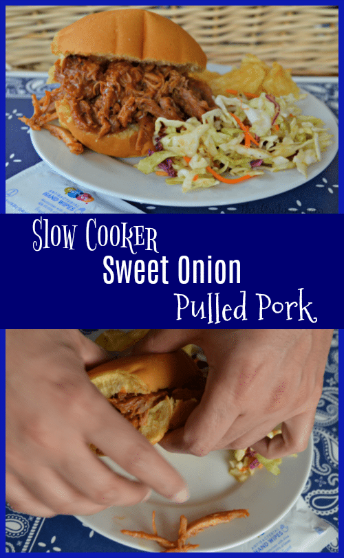 This Sweet Onion Slow Cooker Pulled Pork Recipe is slightly sweet, slightly tangy and made in the Crockpot!
