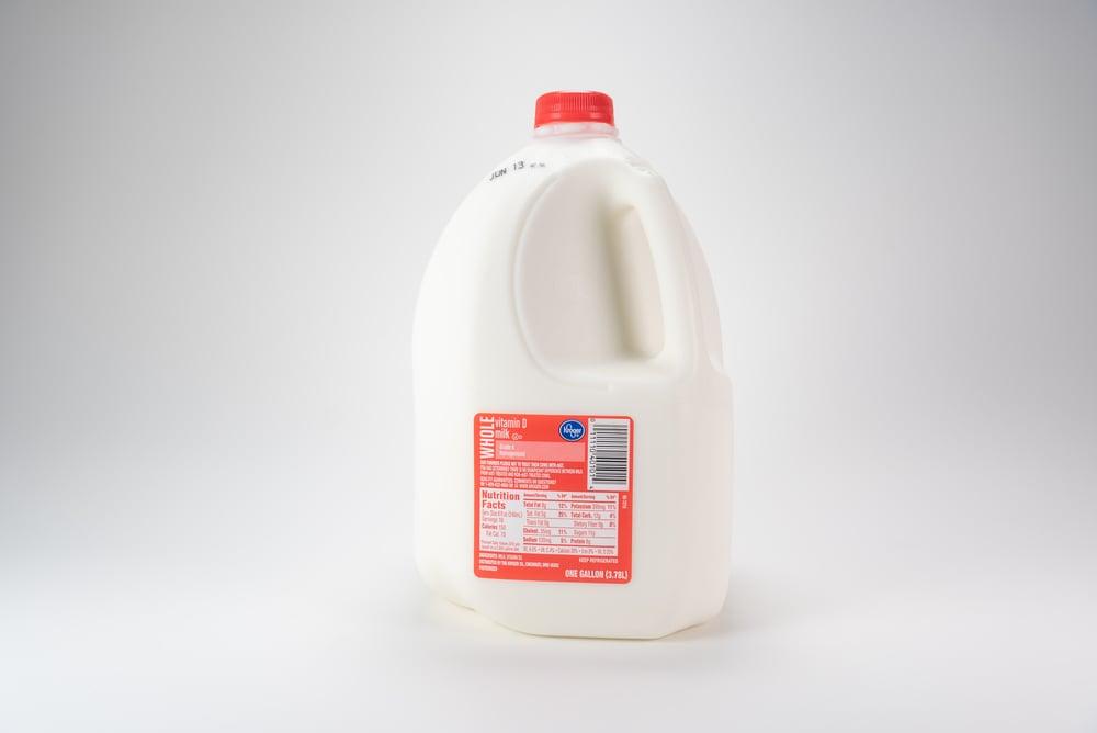 Whole Milk Gallon Isolated on White Background