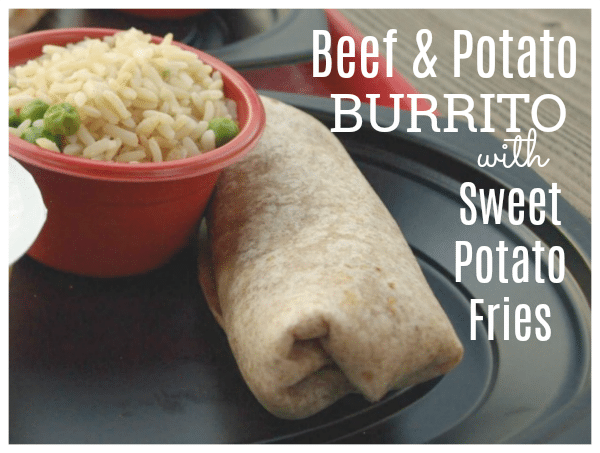 Beef and Potato Burrito with Sweet Potato Fries