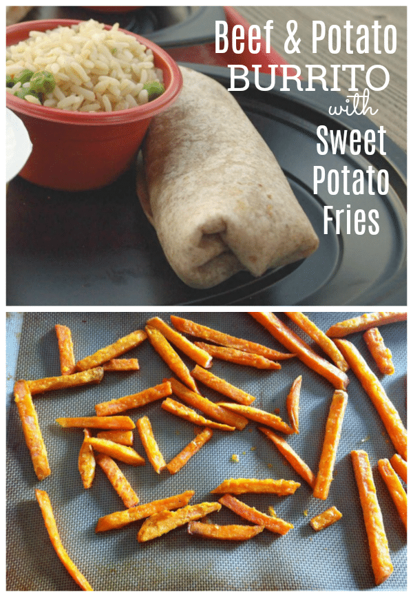 This unique twist on a a Mexican classic combines makes Beef and Potato Burritos with Sweet Potato Fries! It's perfect for an easy dinner or any time meal.