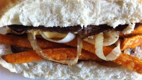 Sweet Potato Fries Steak Sandwich