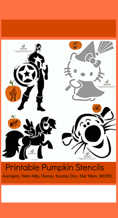 Get these FREE Printable Pumpkin Stencils for Halloween featuring the Avengers, Hello Kitty, Disney, Scooby Doo, Star Wars and MORE of your favorite characters.