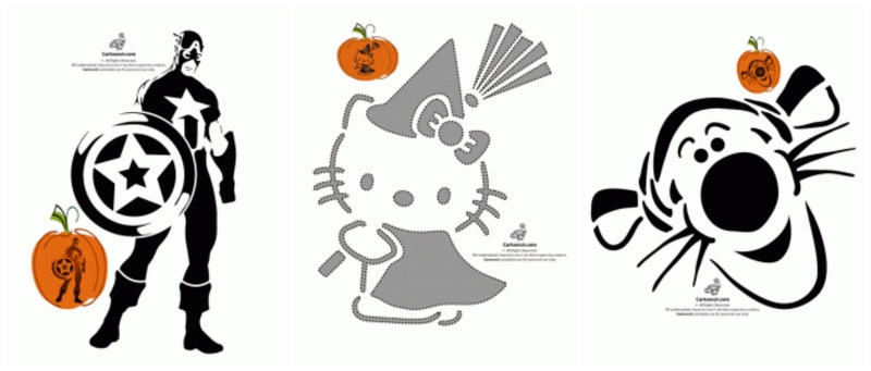 Free printable pumpkin stencils avengers hello kitty