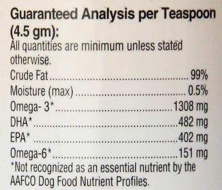 Nutri-Vet Wild Alaskan Salmon Oil for Dogs Nutrition Analysis