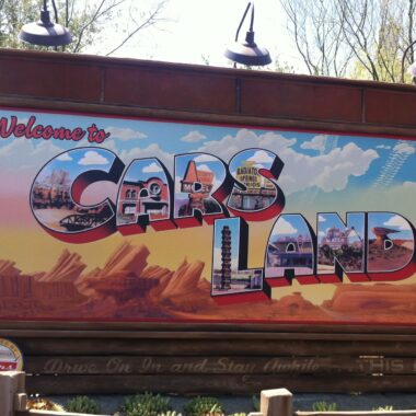 Welcome to Disneyland Cars Land Sign