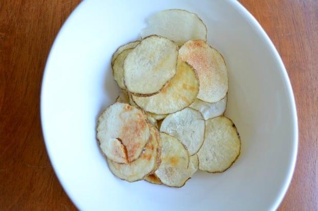 Homemade Potato Chips in Bowl