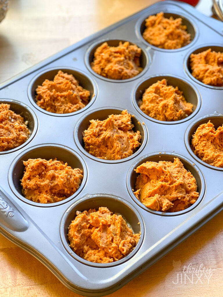 Pumpkin Muffin Batter in Muffin Tins