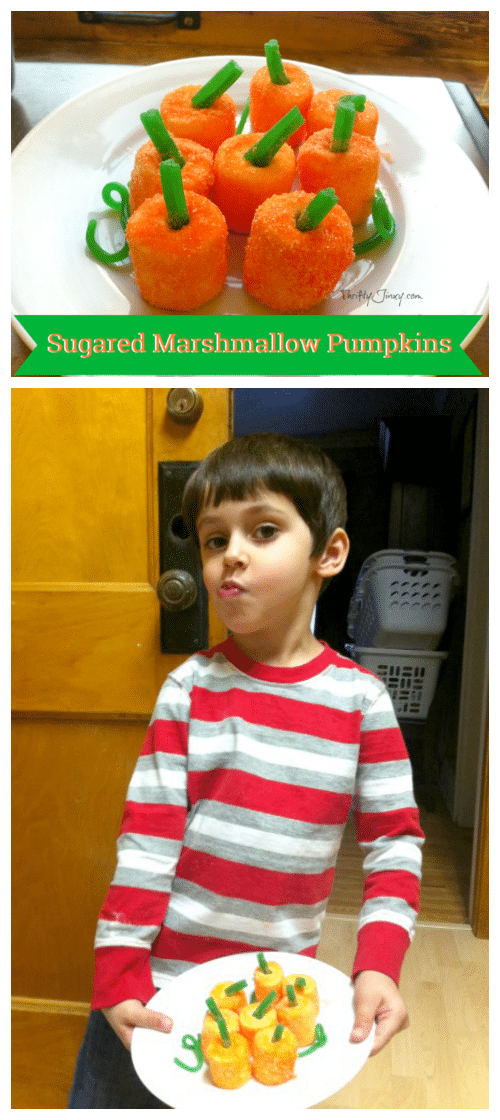 This Sugared Marshmallow Pumpkins recipe is fun for kids to help make a pretty Thanksgiving or Halloween Treat!