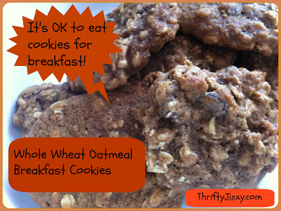 Cookies for Breakfast? Why YES!! Whole Wheat Oatmeal Breakfast Cookies Recipe