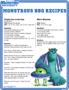 BBQ Recipes from Monsters University – Scary Fun for Your Cookout!