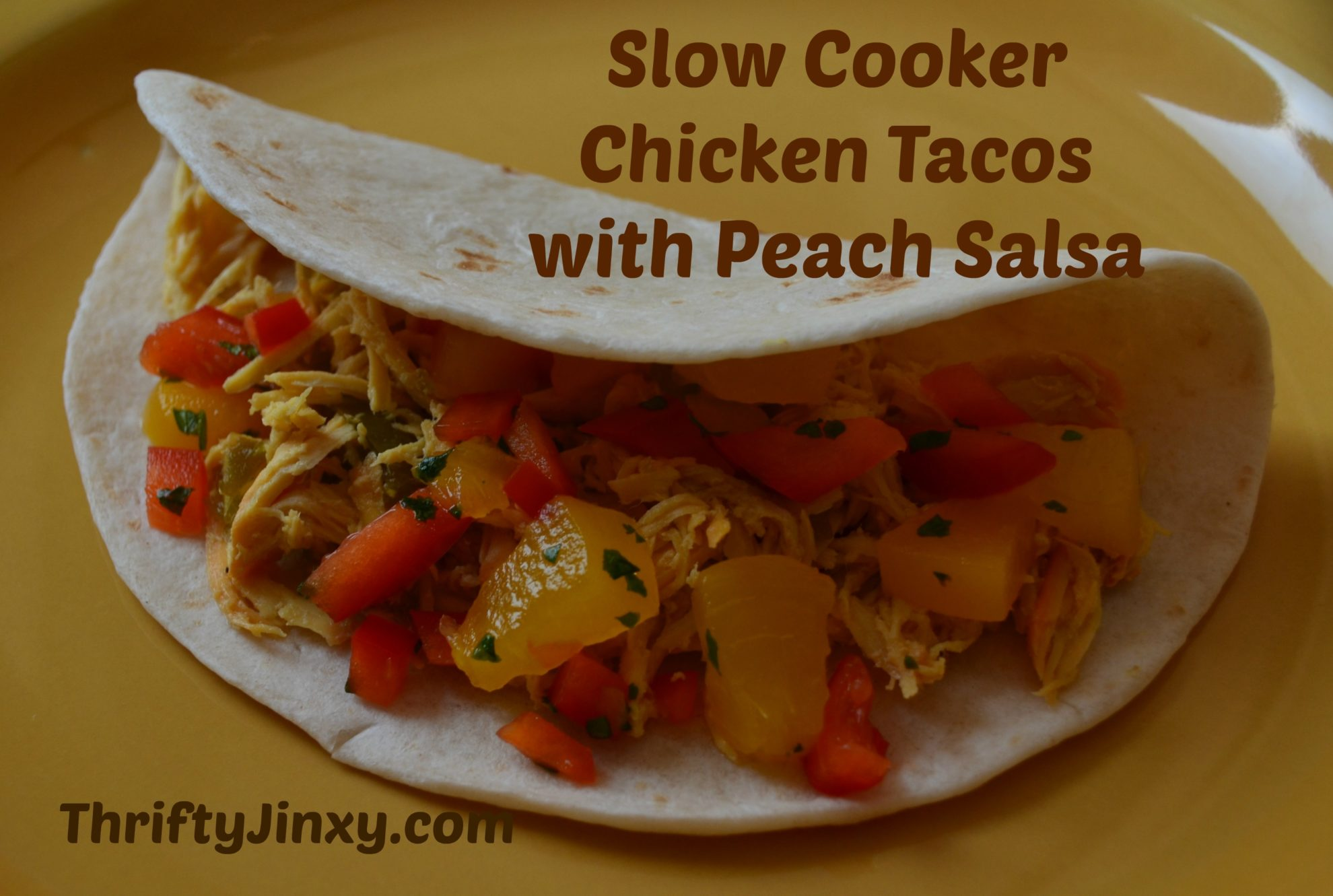 Slow Cooker Chicken Tacos with Peach Salsa Recipe