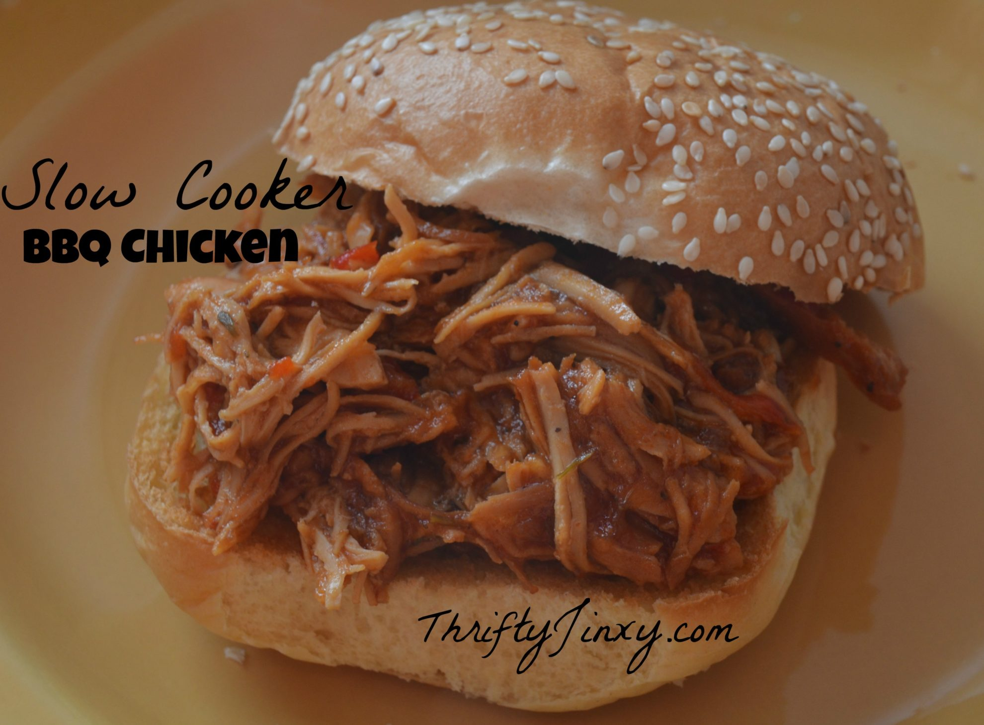 Deeeelicious Easy Slow Cooker Bbq Pulled Chicken Recipe Thrifty Jinxy