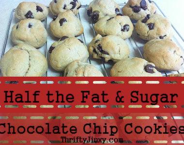 half fat sugar chocolate chip cookies