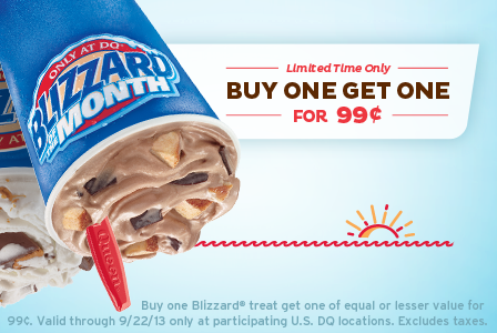 Dairy Queen Blizzards – Buy 1, Get 1 for 99 Cents through 9/22!