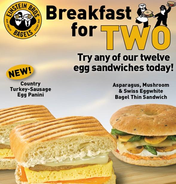 Buy One Get One FREE Egg Sandwiches at Einstein Bros Bagels