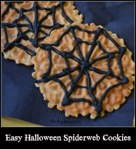 Easy Decorated Halloween Spiderweb Cookies