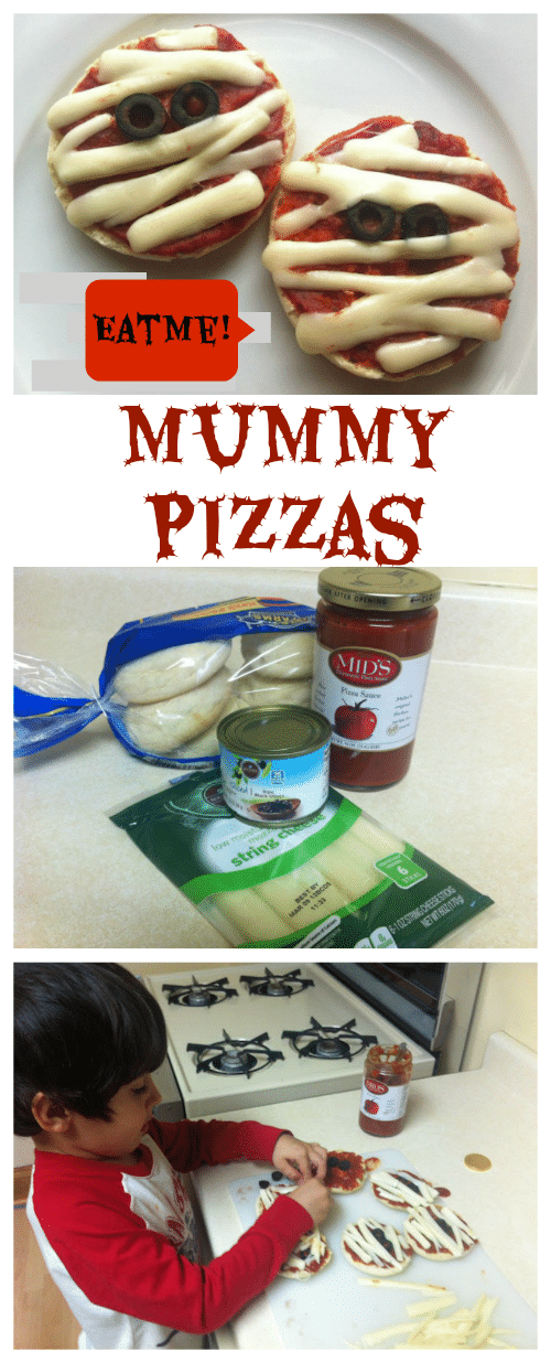 This Mummy Pizzas recipe is perfect for Halloween or any spooky occasion! Kids love to help make them.