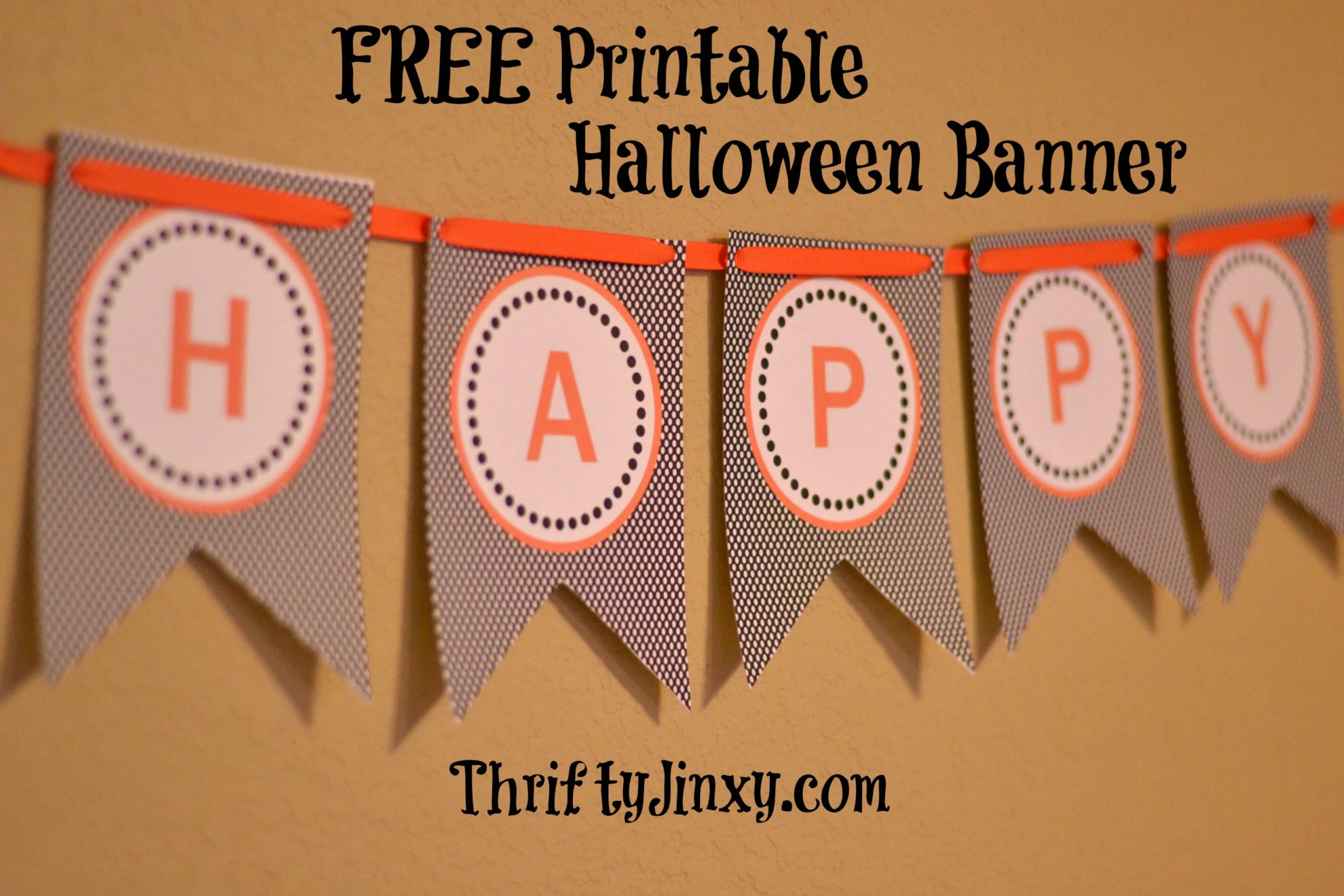 photograph relating to Printable Halloween Banners called No cost Printable Halloween Banner - Thrifty Jinxy
