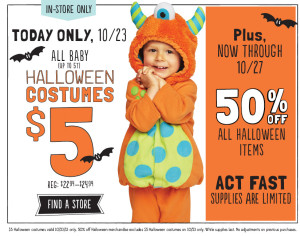 Old Navy: Infant and Toddler Halloween Costumes only $5 TODAY ONLY!