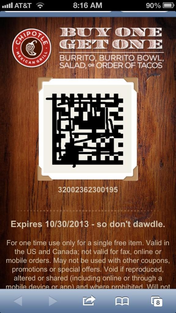 chipotle coupon via text