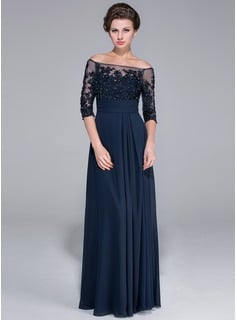 navy formal gown off the shoulder with sheer inset