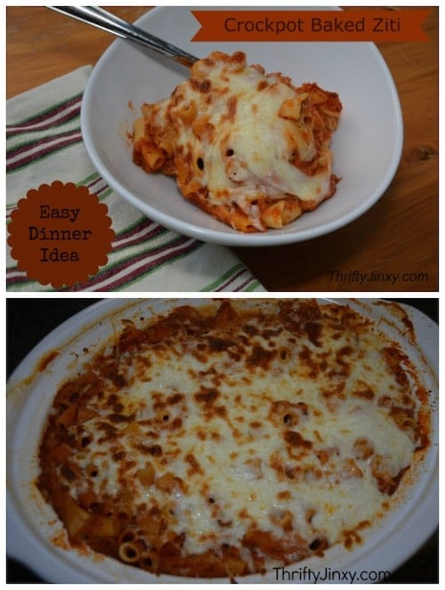 This no-boil Crockpot Baked Ziti Recipe is easy to throw together in the morning to have a hot dinner waiting when you return in the evening.
