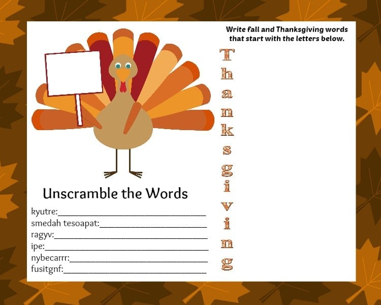 FREE Printable Thanksgiving Placemat with Activities - Thrifty Jinxy