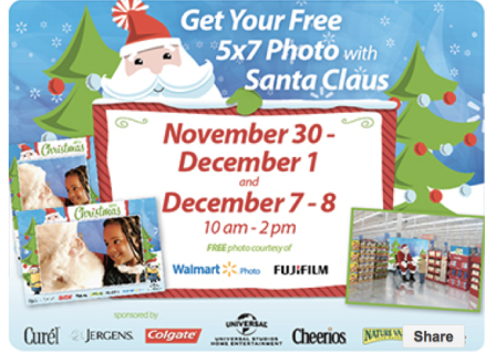 Free Photo with Santa at Walmart through December 8th!