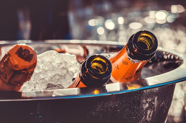 Champagne Bottles Chilling On Ice