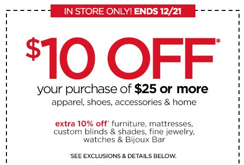 $10 Off $25 Purchase from JCPenney through Dec 21st!