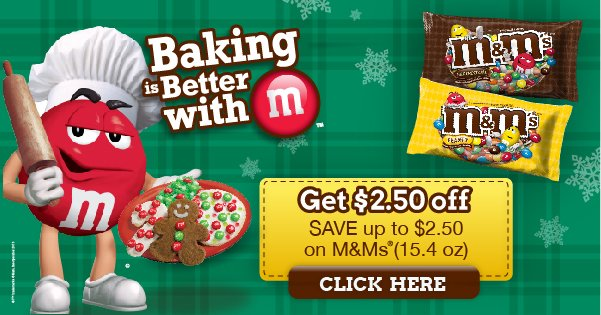 Print a High Value $2.50 M&Ms Coupon! Perfect for Holiday Baking