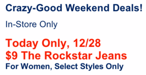 Old Navy Rockstar Women's Jeans only $9 a Pair In-Stores TODAY ONLY! (reg $30)