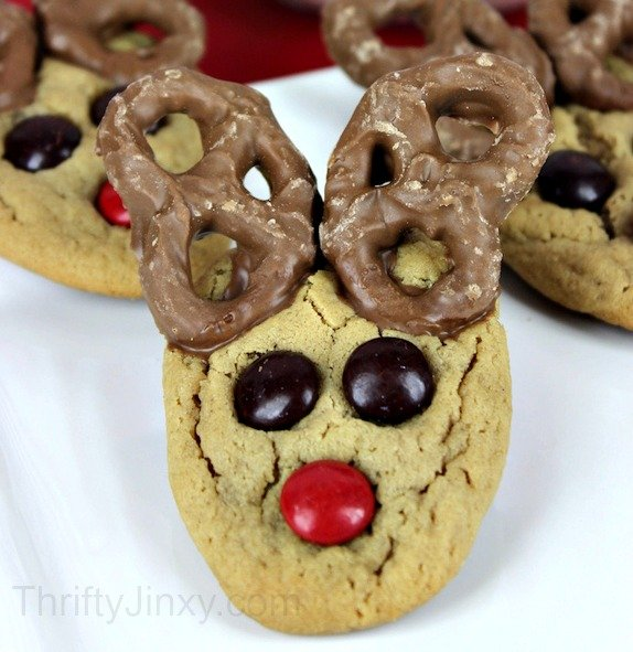 Peanut Butter Cookies With Pretzels And Chocolate
