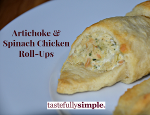 Tastefully Simple Artichoke and Spinach Chicken Roll-Ups