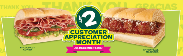 $2 6-Inch Subs at Subway through December!