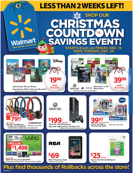 Walmart Christmas Countdown – GREAT Prices on Last Minute Items!