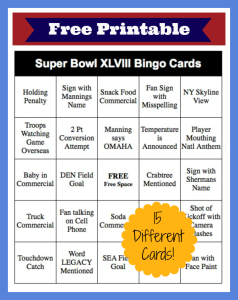 2014 Super Bowl Bingo Cards – FREE Printable!
