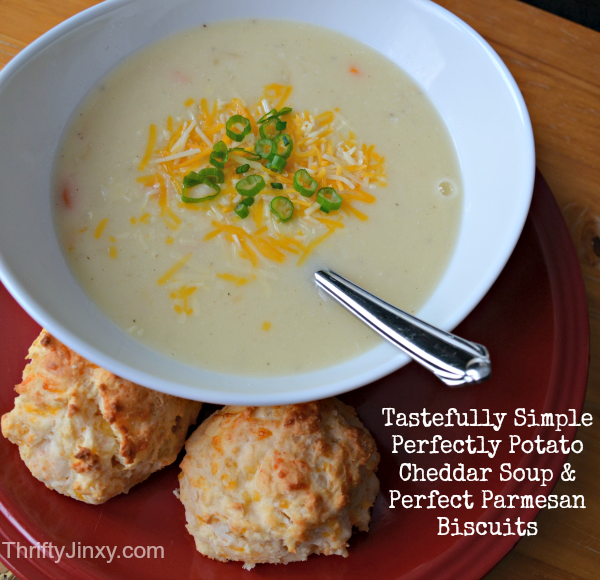 Tastefully Simple:  Perfectly Potato Cheddar Soup Mix and Perfect Parmesan Biscuit Mix Review