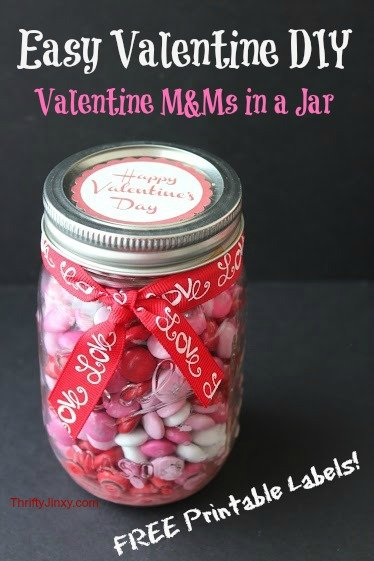 Valentine Jar Gift – Easy DIY with FREE Printable Labels