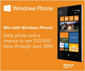 Enter to Win $10K or 1 of 4,000+ Daily Instant Win Prizes from Windows Phone