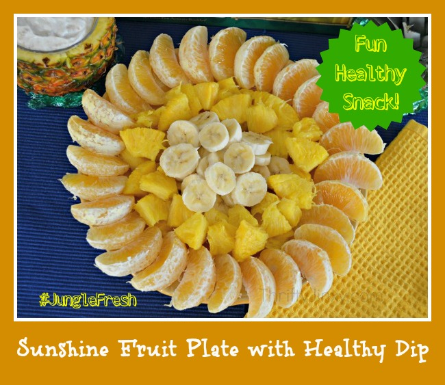 Jungle Book Inspired Sunshine Fruit Plate with Healthy Fruit Dip