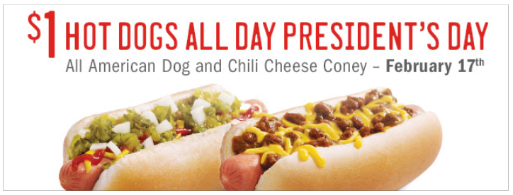Sonic Hot Dogs only $1 Each on President's Day! (2/17)