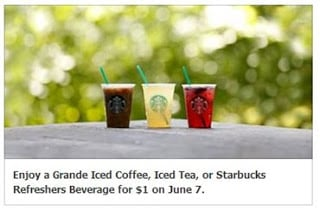 *TODAY ONLY* Starbucks Grande Iced Coffee, Tea and Beverages only $1!