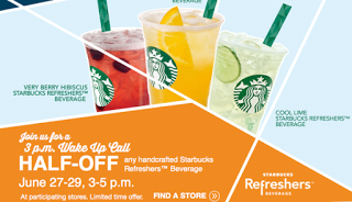 Half Price Starbucks Refreshers Starting June 27th!