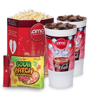 AMC Small Popcorn with candy and soda