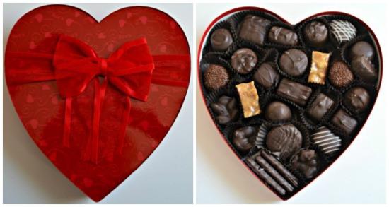 sees dark chocolate heart