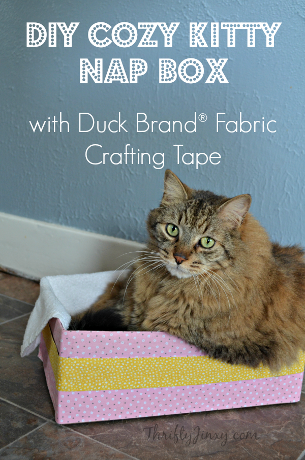 DIY Cozy Kitty Nap Box with Duck Brand Fabric Crafting Tape