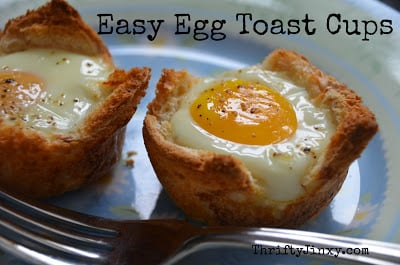 Breakfast Recipe Easy Egg And Toast Cups Thrifty Jinxy